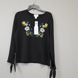 NWT For The Republic Floral Embroidery Top